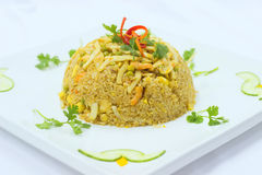 Fried rice on white plate Royalty Free Stock Images