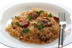 Fried Rice With Sausages Stock Photo