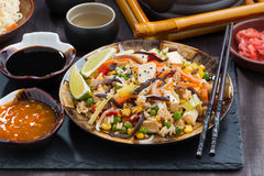 Fried Rice With Tofu And Vegetables On Table Stock Images