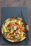Fried Rice With Tofu, Vegetables , Vertical, Top View Royalty Free Stock Photos