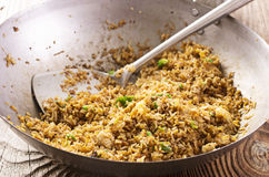 Fried Rice in Wok royalty free stock photography