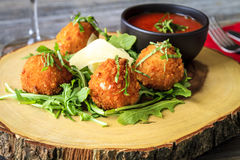Fried Risotto Balls Appetizer With Sauce Stock Photo