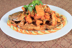 Fried river fish with garlic and pepper Stock Image