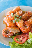 Fried river prawn with sweet and sour sauce Stock Image