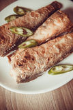 Fried rockcod. Fried shad with chilli, australian fish Royalty Free Stock Photo