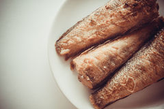 Fried rockcod. Fried shad with chilli, australian fish Stock Images