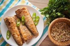 Fried rockcod. Fried shad with chilli, australian fish Stock Photos