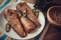 Fried rockcod. Fried shad with chilli, australian fish Royalty Free Stock Images