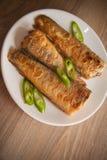 Fried rockcod. Fried shad with chilli, australian fish Stock Image