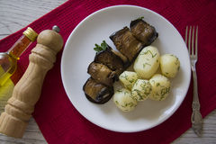 Fried rolls of aubergines Stock Photography