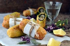 Fried rolls with fish and pesto sauce Royalty Free Stock Photos