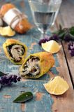 Fried rolls with fish and pesto sauce Stock Images