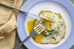 Fried Runny Egg Over Easy Stock Photo