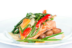 Fried salmon. With beans and potato Royalty Free Stock Photos