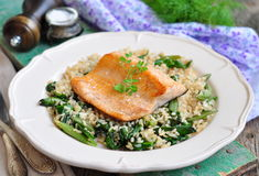 Fried salmon with brown rice, spinach and leguminous kidney bean Stock Photo