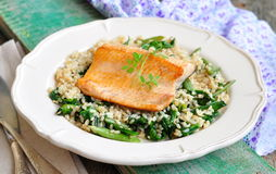 Fried salmon with brown rice, spinach and leguminous kidney bean Stock Photography