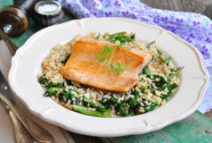 Fried salmon with brown rice, spinach and leguminous kidney bean Stock Photos