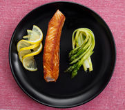 Fried salmon filet Stock Photography
