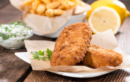 Fried Salmon Filet with Chips Royalty Free Stock Photo