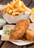 Fried Salmon Filet with Chips Stock Images