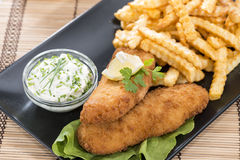 Fried Salmon Filet with French Fries Stock Photography
