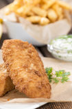 Fried Salmon Filet with French Fries Stock Images
