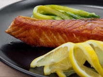 Fried salmon filet Royalty Free Stock Images