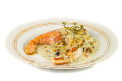Fried salmon fillet. With blue cheese sauce stock images