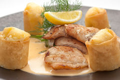Fried salmon fillet with complex garnish Royalty Free Stock Photos