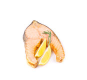 Fried salmon fillet with lemon. Stock Photography