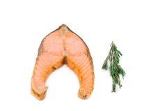 Fried salmon fillet Stock Photos