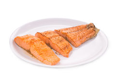 Fried salmon fillet Stock Photos
