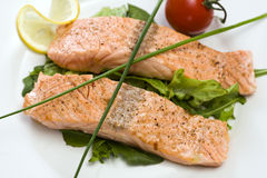 Fried salmon fillets Stock Image