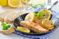 Fried salmon Stock Image