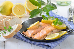 Fried salmon fillets Royalty Free Stock Photos
