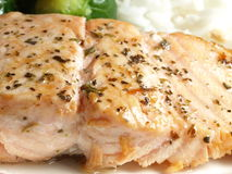 Fried salmon fish. Close-up of fried salmon fish with herbs royalty free stock image
