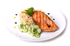 Fried salmon fish with a soaked rice Stock Photo