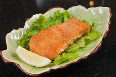 Fried Salmon Stock Photo