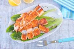 Fried salmon kebab Royalty Free Stock Photography