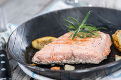 Fried Salmon in a Pan Stock Photography