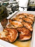 Fried Salmon Pieces For Sale fotografering för bildbyråer