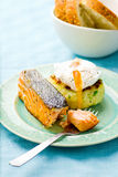 The fried salmon with a potato patty and poached egg Royalty Free Stock Image