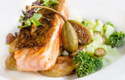 Fried salmon with potatoes vegetarian lunch Stock Image