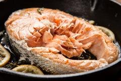 Fried salmon slice Stock Photography