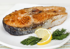 Fried salmon steak Royalty Free Stock Photos