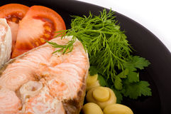 Fried salmon with  vegetable Royalty Free Stock Images
