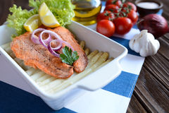 Fried salmon with vegetable Royalty Free Stock Photos
