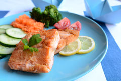 Fried salmon with vegetable Stock Image
