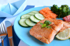 Fried salmon with vegetable Royalty Free Stock Image