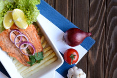 Fried salmon with vegetable Royalty Free Stock Photography